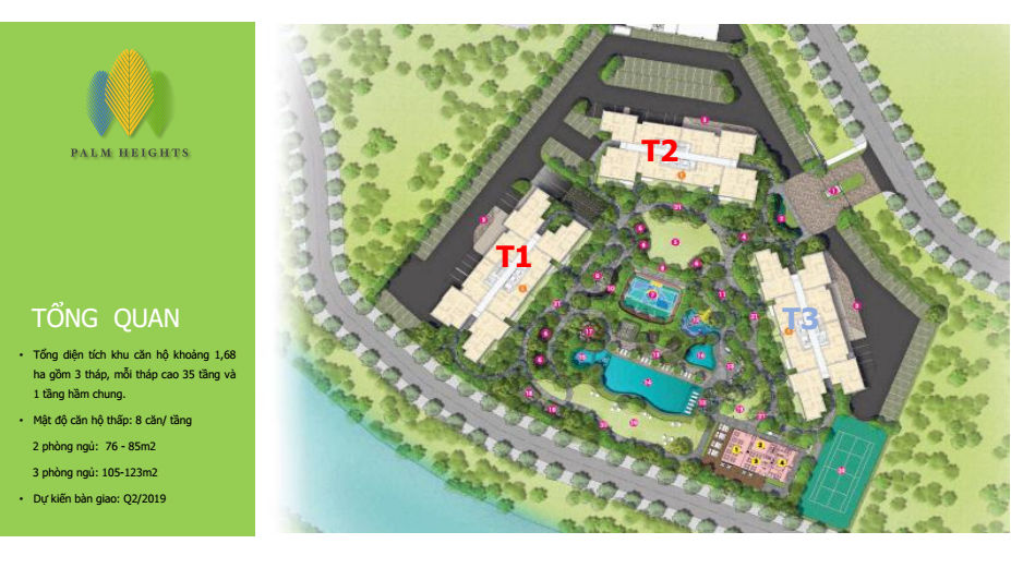 Mặt bằng tổng thể dự án căn hộ Palm Heights