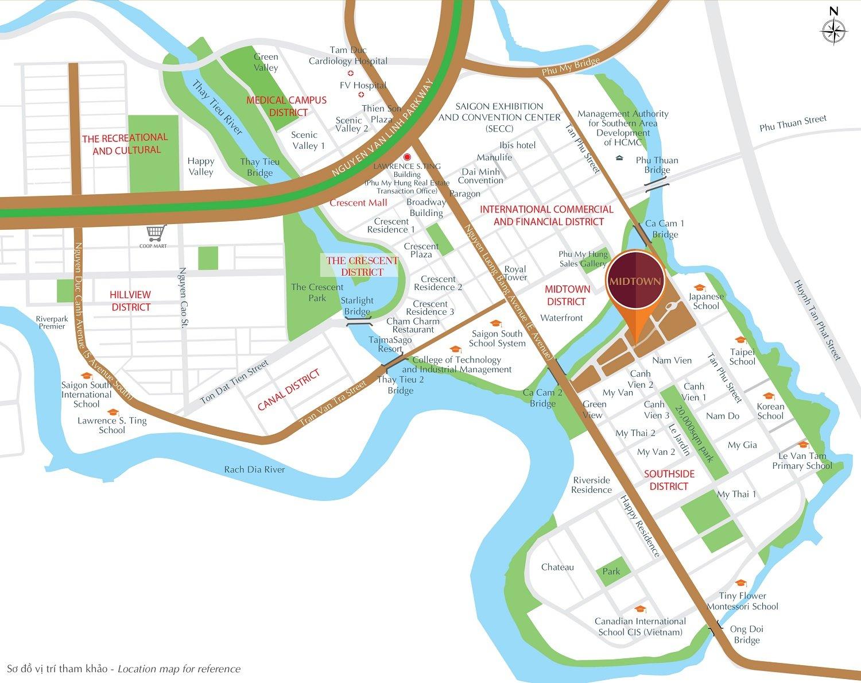 Vị trí dự án căn hộ Midtown Phú Mỹ Hưng